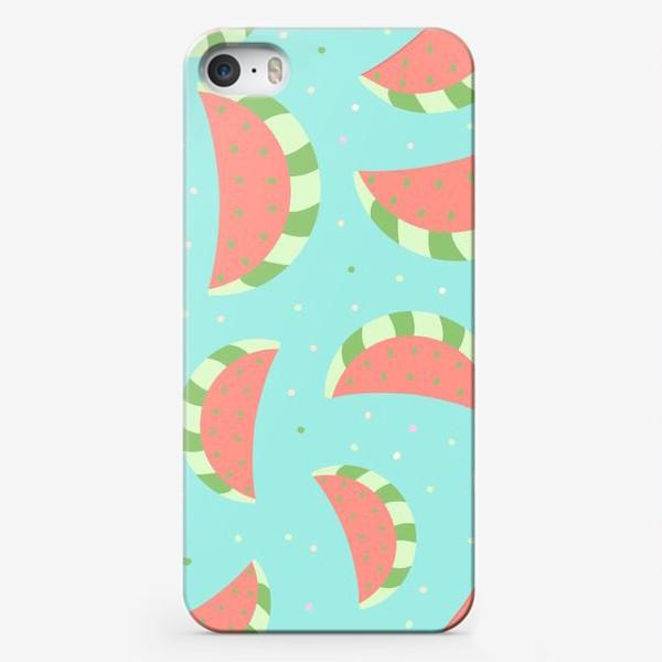 Чехол iPhone «Милые дудлы арбузы.  Ягоды, фрукты. Детский узор »