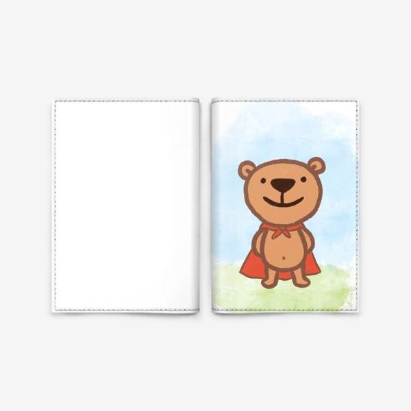 Обложка для паспорта «Мишка - супергерой»