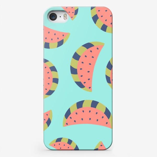 Чехол iPhone «Милые арбузы.  Ягоды, фрукты - летний принт. Нежный детский узор »