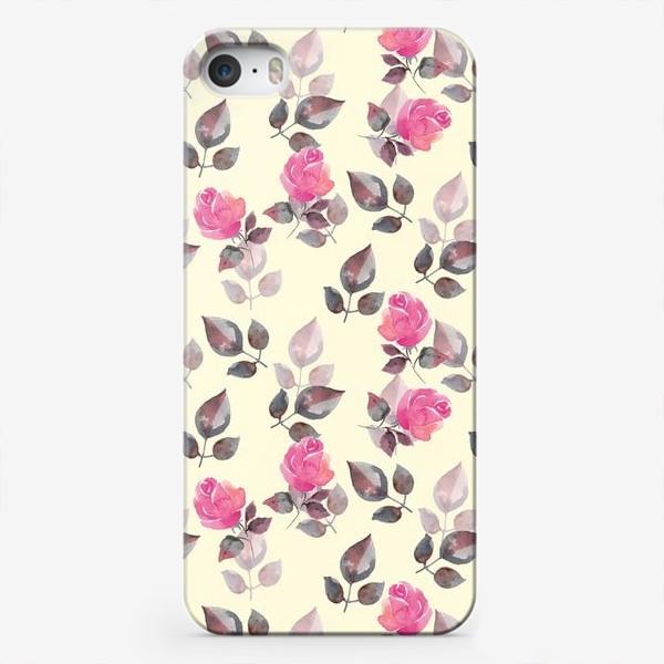 Чехол iPhone «Акварельные розы. Яркий розовый»