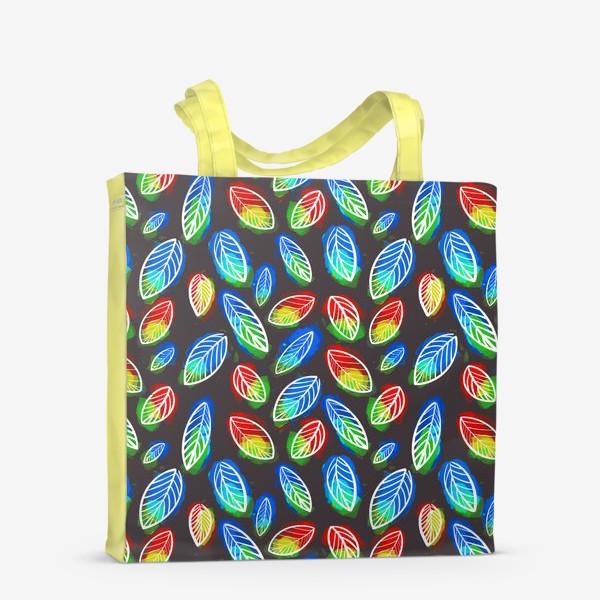 Сумка-шоппер «Яркие листья на черном фоне. Летний, осенний узор »