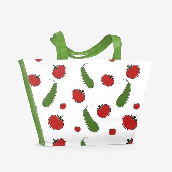 Пляжная сумка «Паттерн из томатов и огурцов »