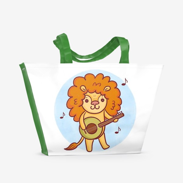 Пляжная сумка «Милый лев с гитарой»