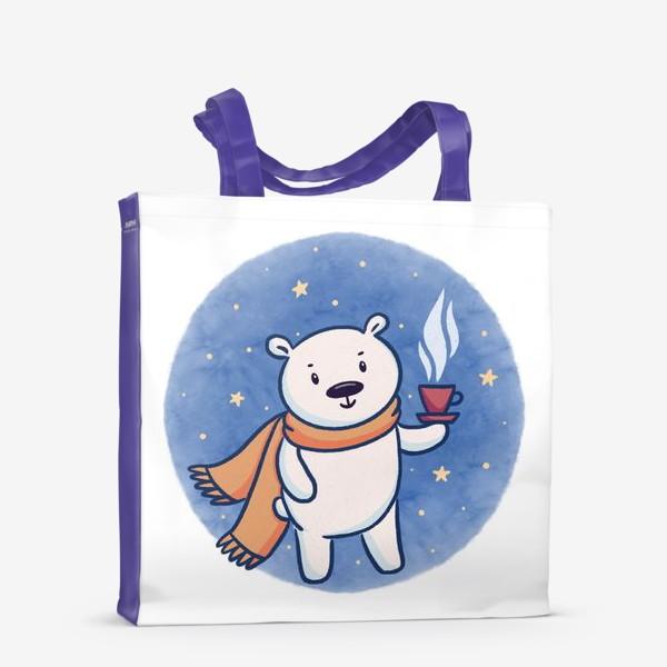 Сумка-шоппер «Белый медведь с кофе»