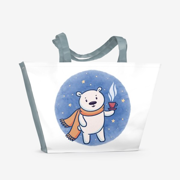 Пляжная сумка «Белый медведь с кофе»