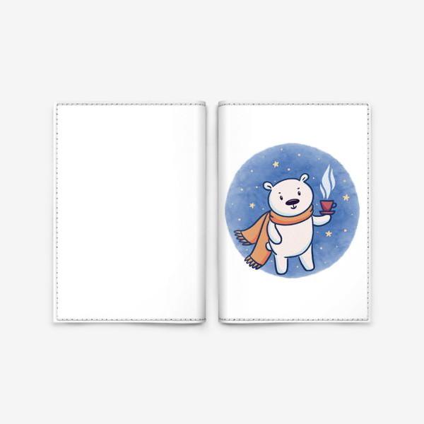 Обложка для паспорта «Белый медведь с кофе»