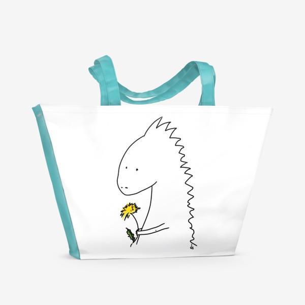 Пляжная сумка «Динозаврик с одуванчиком »