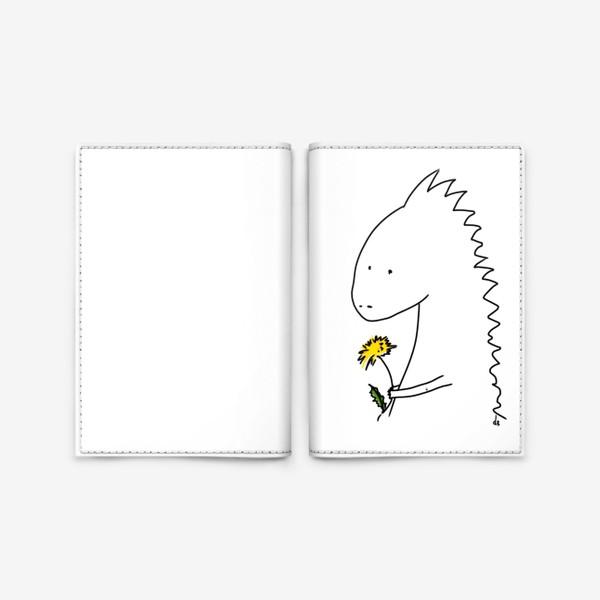 Обложка для паспорта «Динозаврик с одуванчиком »
