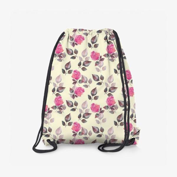Рюкзак «Акварельные розы. Яркий розовый»