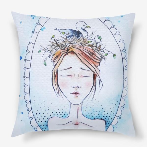 Подушка «Девушка с чайкой»