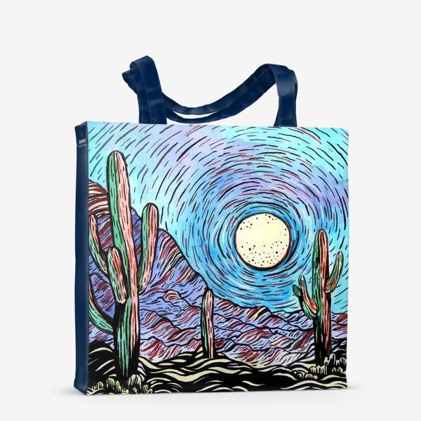 Сумка-шоппер «Пустынный пейзаж с кактусами»