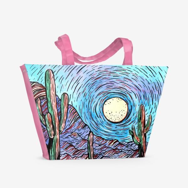 Пляжная сумка «Пустынный пейзаж с кактусами»