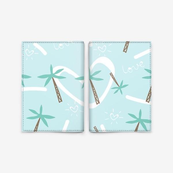 Обложка для паспорта «palm tree and hearts»