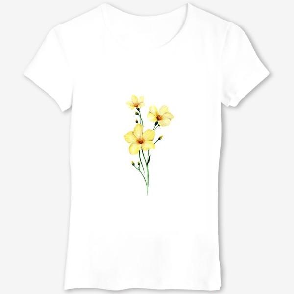 Футболка «Желтые цветы ботаническая иллюстрация»