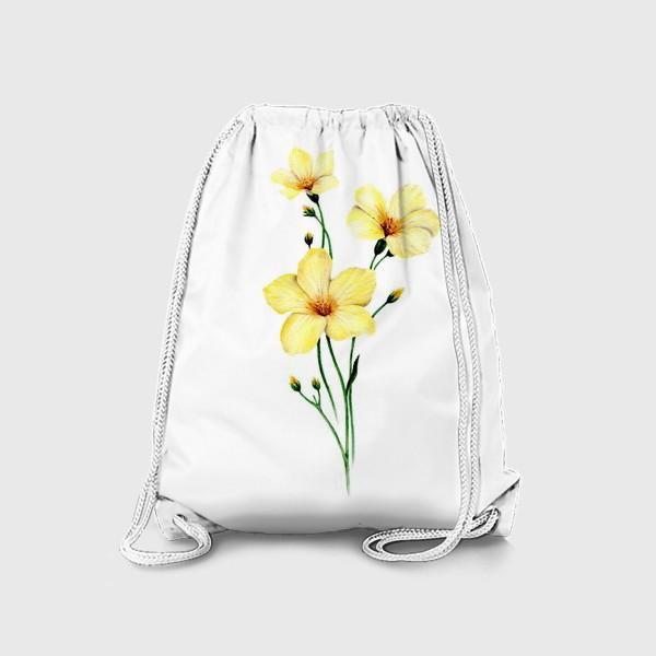 Рюкзак «Желтые цветы ботаническая иллюстрация»