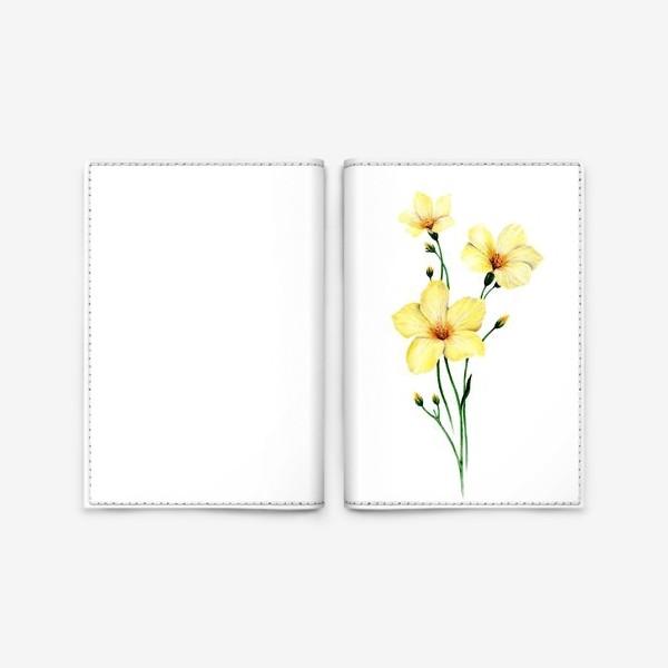 Обложка для паспорта «Желтые цветы ботаническая иллюстрация»