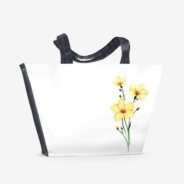 Пляжная сумка «Желтые цветы ботаническая иллюстрация»
