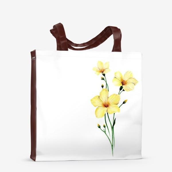 Сумка-шоппер «Желтые цветы ботаническая иллюстрация»