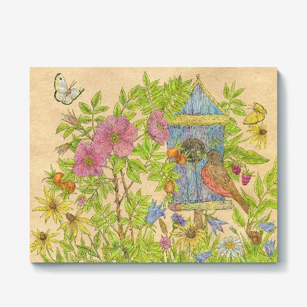 Холст «Летний день. Цветы и птицы»