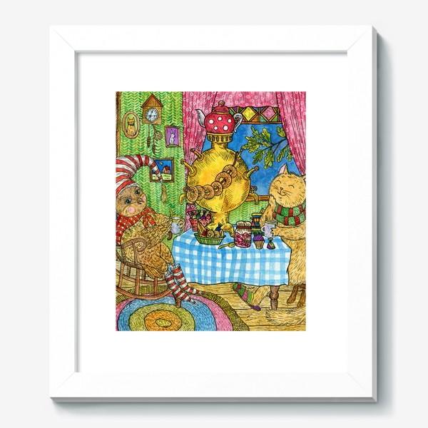 Картина «Сова и кот в уютной избушке»
