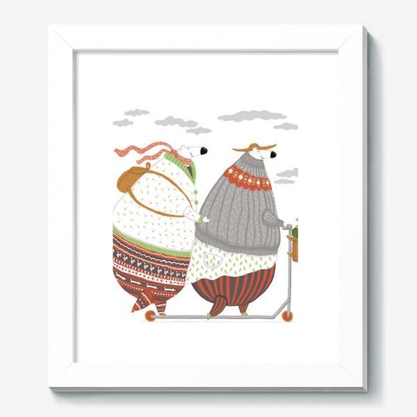 Картина «самокат и мишки»