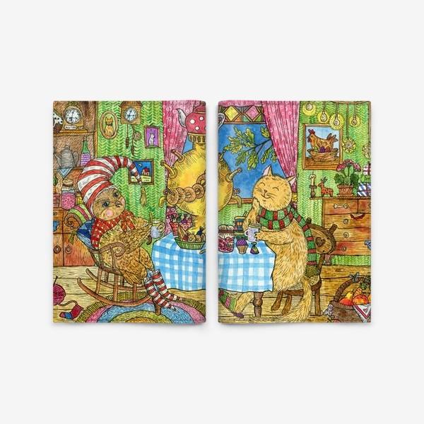 Обложка для паспорта «Сова и кот в уютной избушке»