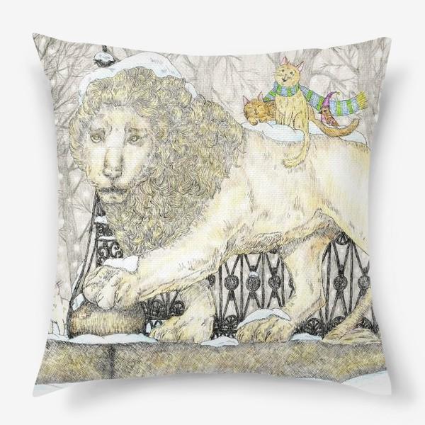 Подушка «Старый добрый Лев и коты»