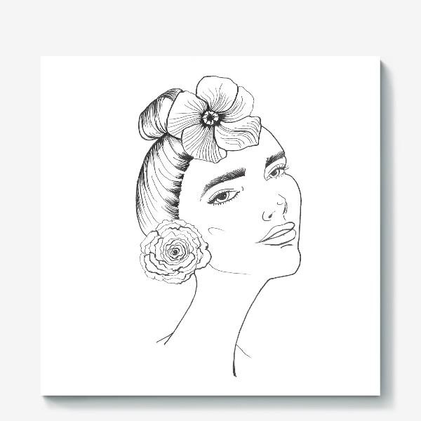 Холст «Девочка-красотка с розой и лилией»