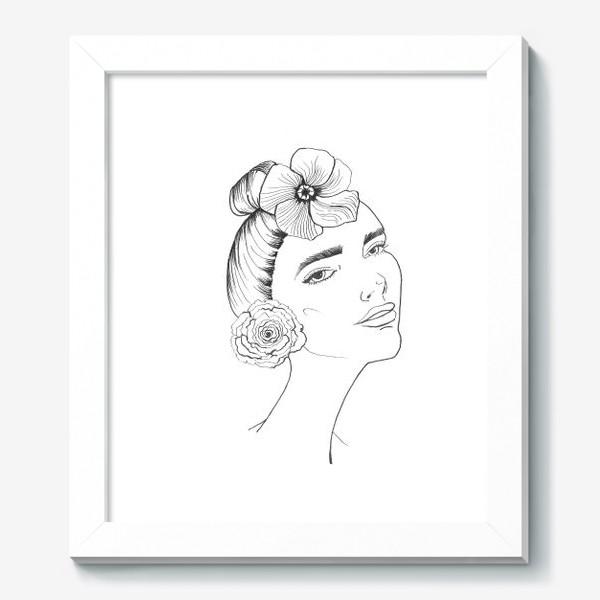 Картина «Девочка-красотка с розой и лилией»