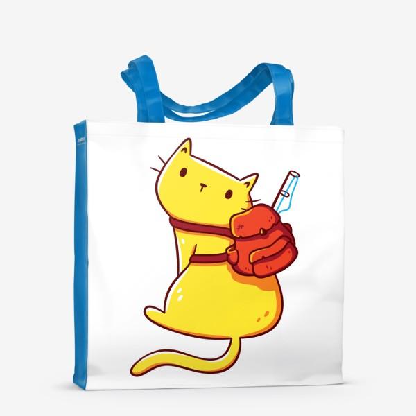 Сумка-шоппер «Котенок с Рюкзаком и Удочкой / Оранжевый Кот - Искатель Приключений»