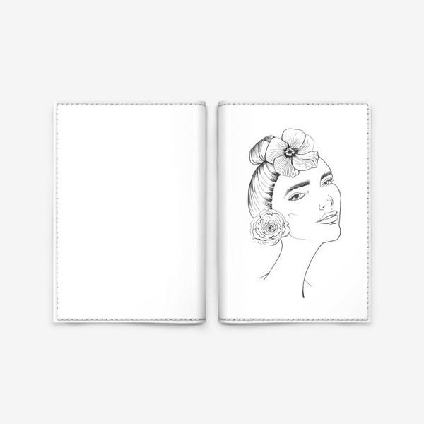 Обложка для паспорта «Девочка-красотка с розой и лилией»