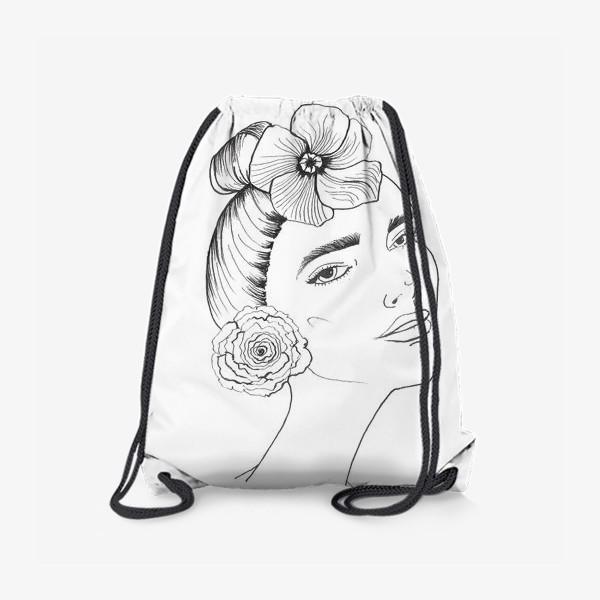 Рюкзак «Девочка-красотка с розой и лилией»