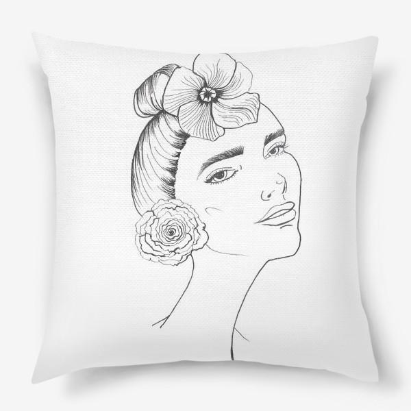 Подушка «Девочка-красотка с розой и лилией»