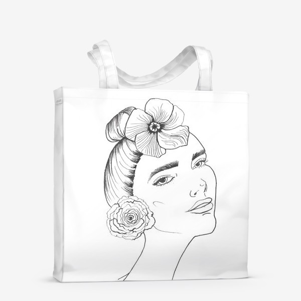 Сумка-шоппер «Девочка-красотка с розой и лилией»