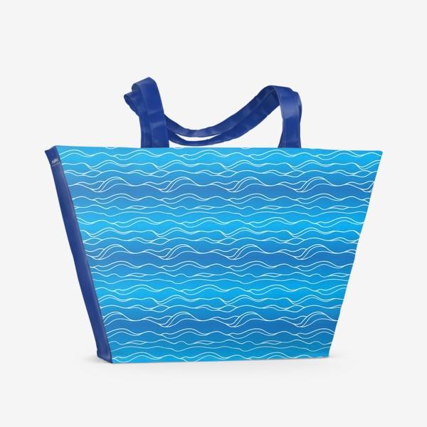 Пляжная сумка «Сине-белые волны»