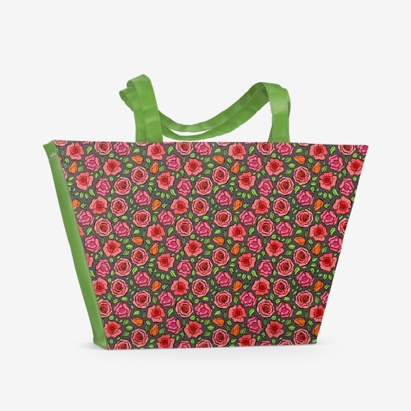 Пляжная сумка «Красные розы»