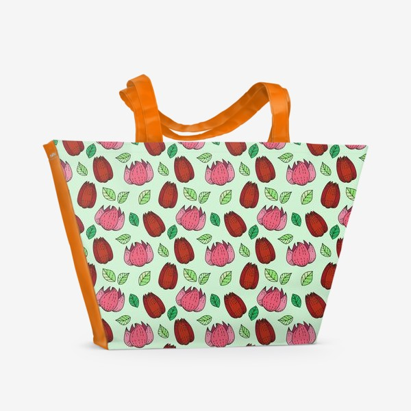 Пляжная сумка «Тюльпаны и лотосы»