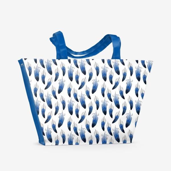 Пляжная сумка «Синие перья»