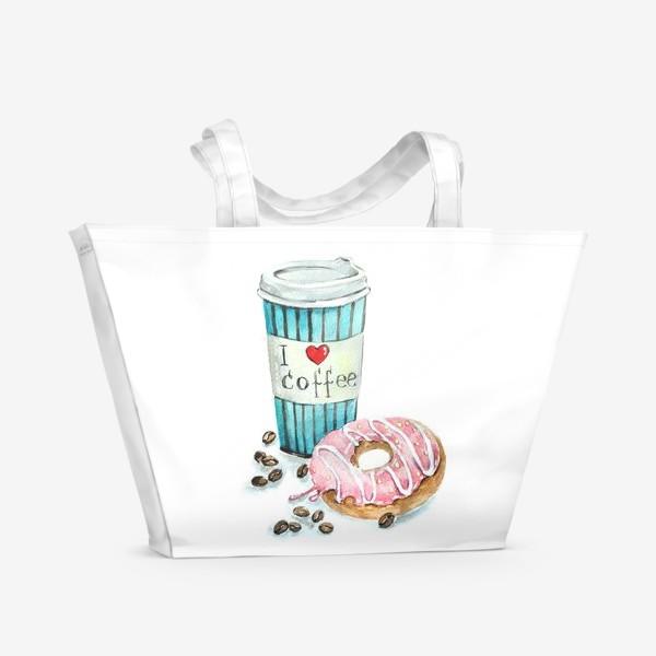 Пляжная сумка «i love coffee»