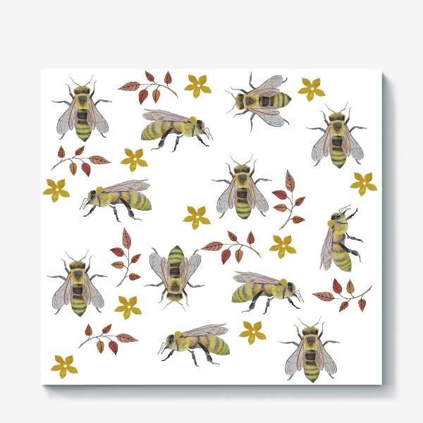 Холст «Паттерн с пчелами на белом фоне»