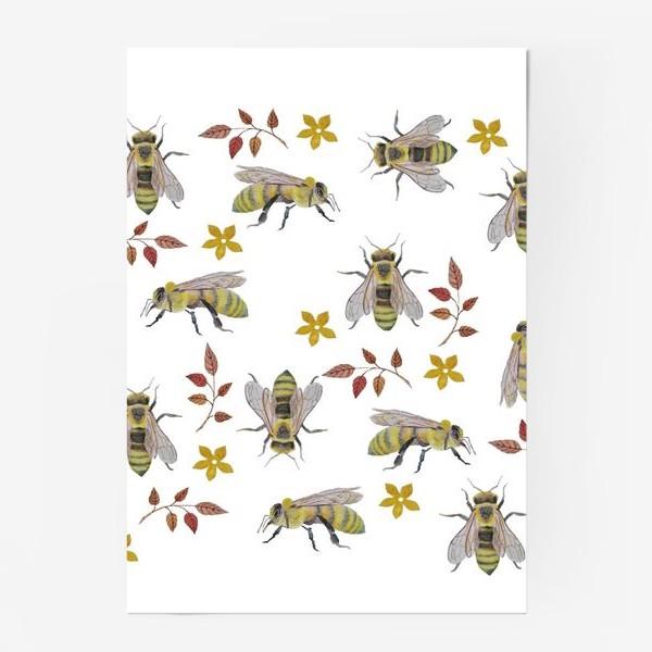 Постер «Паттерн с пчелами на белом фоне»