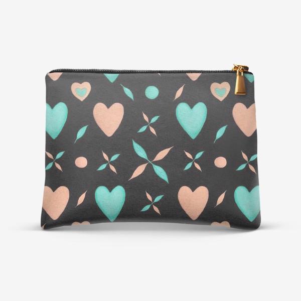 Косметичка «Мятные и персиковые сердечки на черном фоне Паттерн Оригинальный узор»