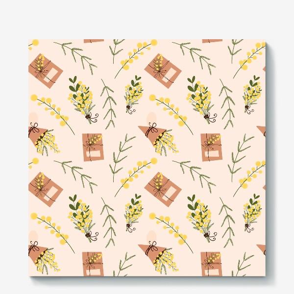 Холст «Весенний паттерн веточки мимоз и подарочная коробка на бежево розовом»