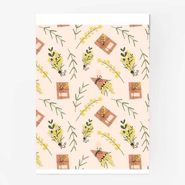 Постер «Весенний паттерн веточки мимоз и подарочная коробка на бежево розовом»