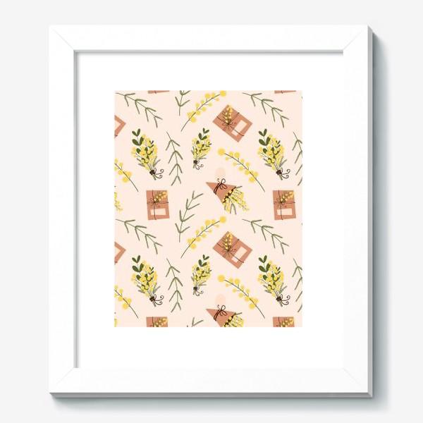 Картина «Весенний паттерн веточки мимоз и подарочная коробка на бежево розовом»
