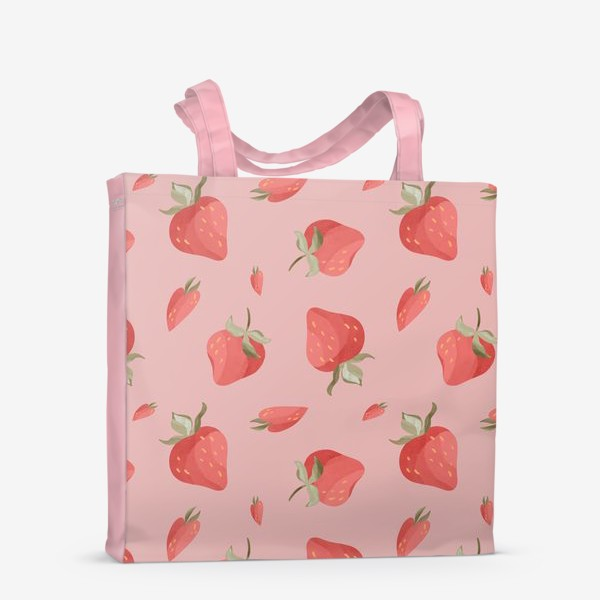 Сумка-шоппер «Сладкие яркие ягоды клубники сердечки паттерн на розовом»