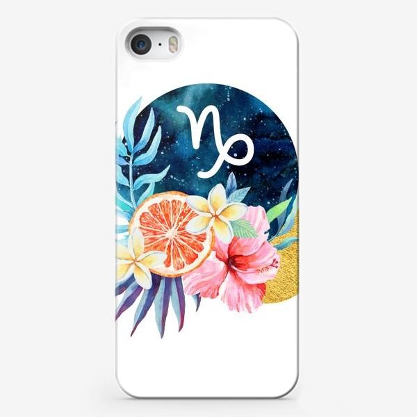 Чехол iPhone «Подарок для КОЗЕРОГА Тропические цветы»