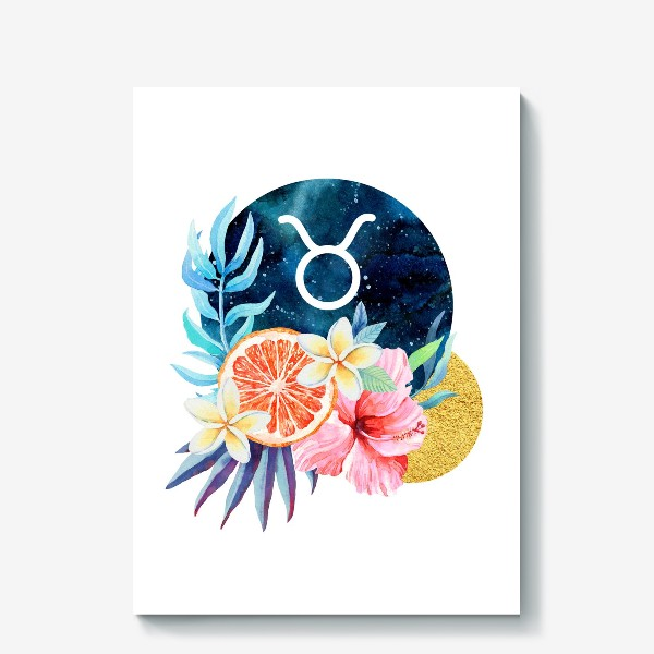 Холст «Подарок для ТЕЛЬЦА Тропические цветы»
