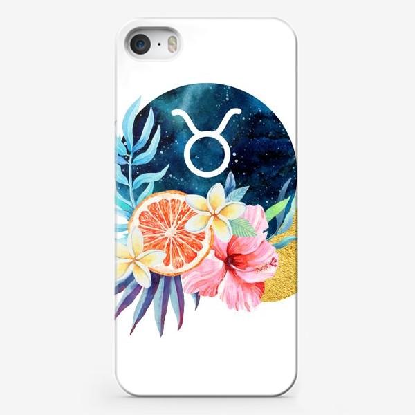 Чехол iPhone «Подарок для ТЕЛЬЦА Тропические цветы»