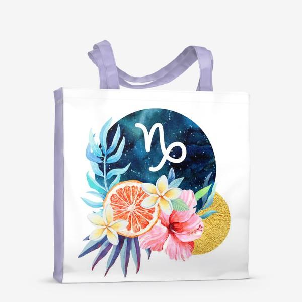Сумка-шоппер «Подарок для КОЗЕРОГА Тропические цветы»